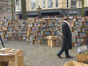 Bild von Mann, der durch einen Wald an Büchern läuft, so sieht Literaturrecherche ohne Datenbanken aus