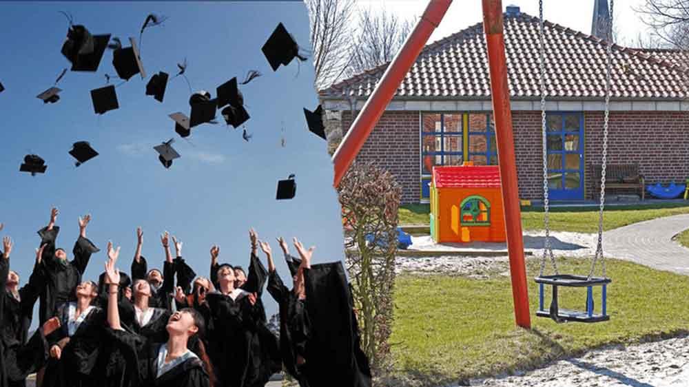 Bild von Studenten, die ihren Hut in die Luft reißen und eine leere Schaukel, die Zeigt wie schwierig es ist Studieren mit Kind Betreuung zu finden