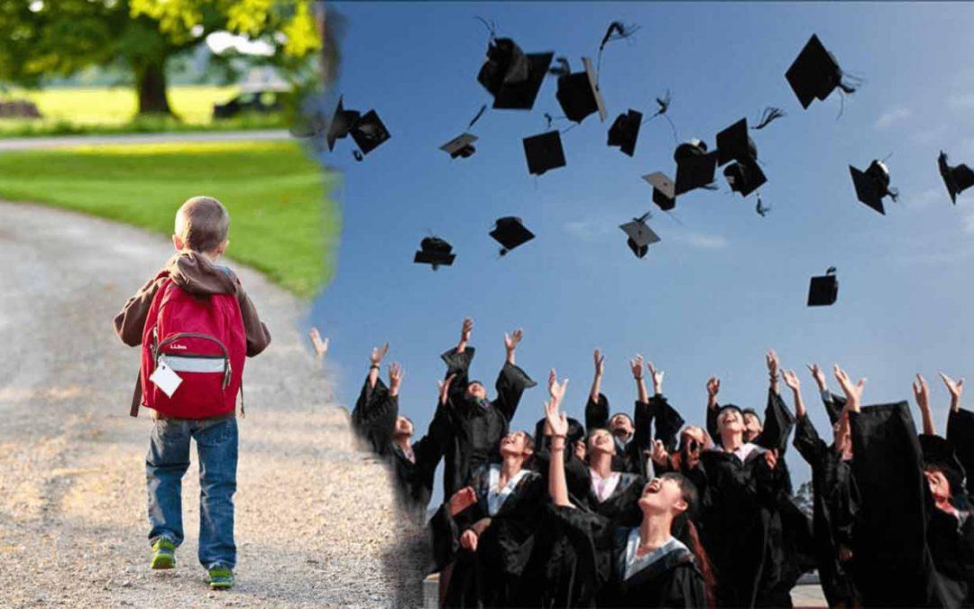 Ein Kind auf dem Schulweg und Studenten, die gerade ihren Abschluss gemacht haben, Studieren mit Kind soll genauso enden