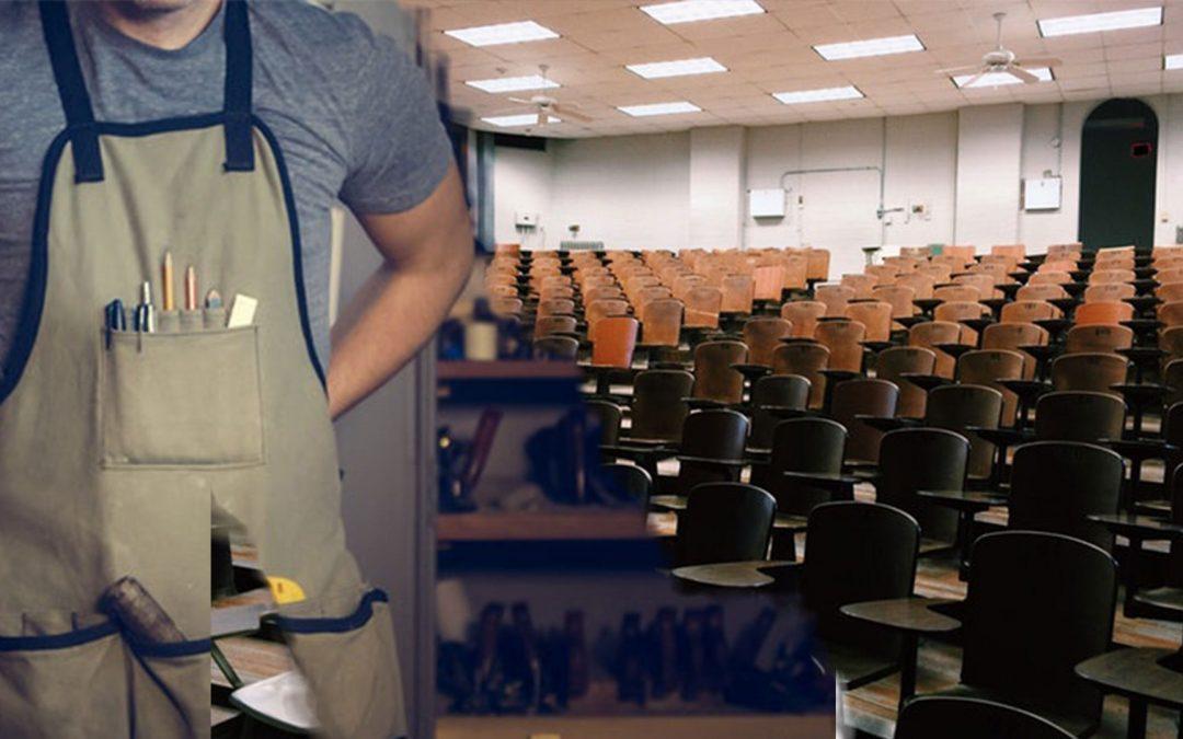 Bild von einer Werkstatt und einem Hörsaal. Wo möchtest du sein? Was möchtest du machen: Studium oder Ausbildung