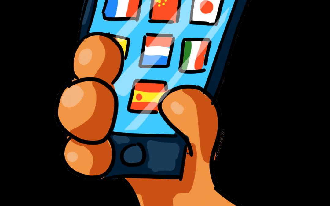 Bild von der Hand des Fifi Fuchs, die ein Smartphone hält auf dem Landesflaggen als Sprachlern Apps abgebildet sind