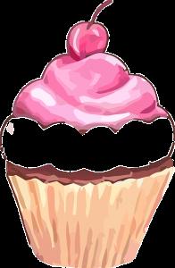 Zeichnung eines Cupcakes. Sprüche und Glückwünsche zum 18. Geburtstag.