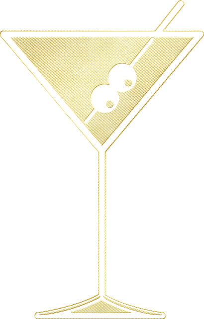 Ein Martiniglas aus Goldfolie. Sprüche und Glückwünsche zum 18. Geburtstag.