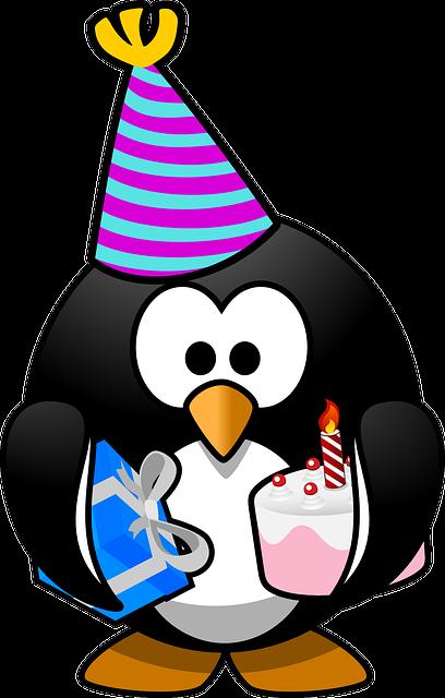 Zeichnung eines Pinguins mit Partyhütchen, Geschenk und Torte. Sprüche und Glückwünsche zum 18. Geburtstag.